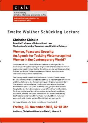 Plakat der zweiten Walther Schücking Lecture am 30. November 2018 mit Christine Chinkin